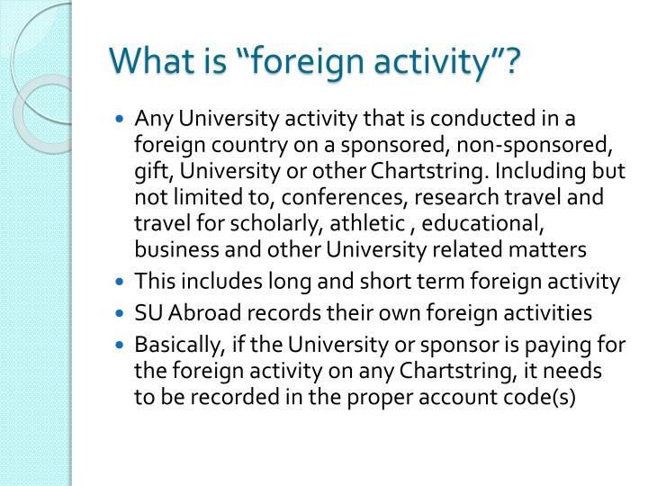 "What is ""foreign activity""?"