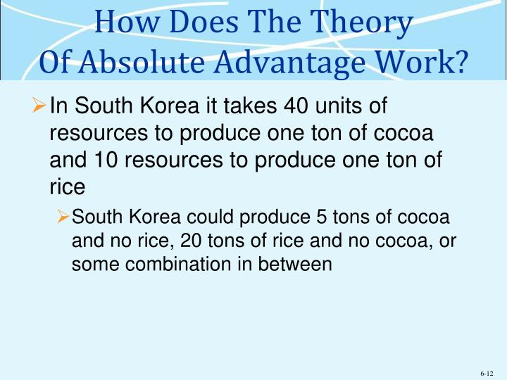 theory of absolute advantage Start studying chapter 5 - international trade theory learn vocabulary, terms, and more with flashcards,  according to adam smith's theory of absolute advantage.