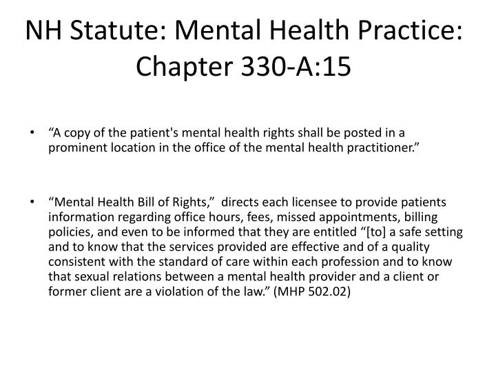 NH Statute: Mental Health Practice:  Chapter 330