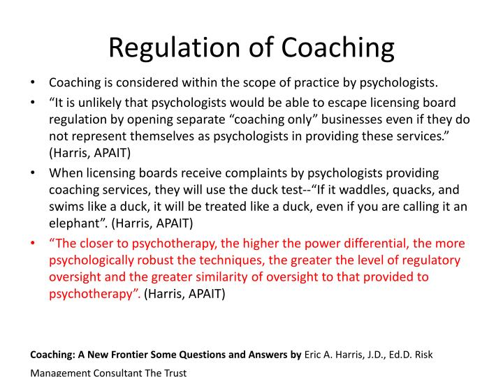 Regulation of Coaching