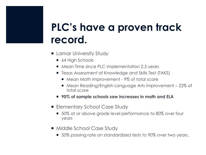 PLC's have a proven track record.