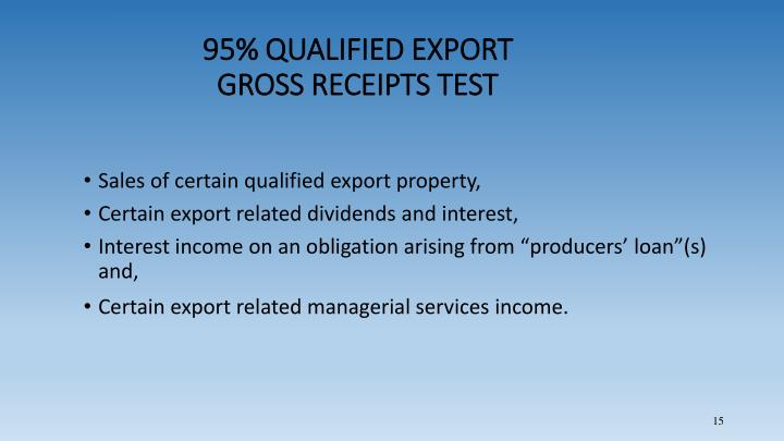 95% QUALIFIED EXPORT