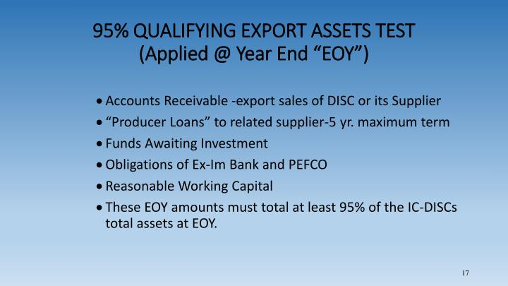 95% QUALIFYING EXPORT ASSETS TEST