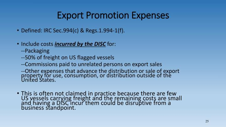 Export Promotion Expenses