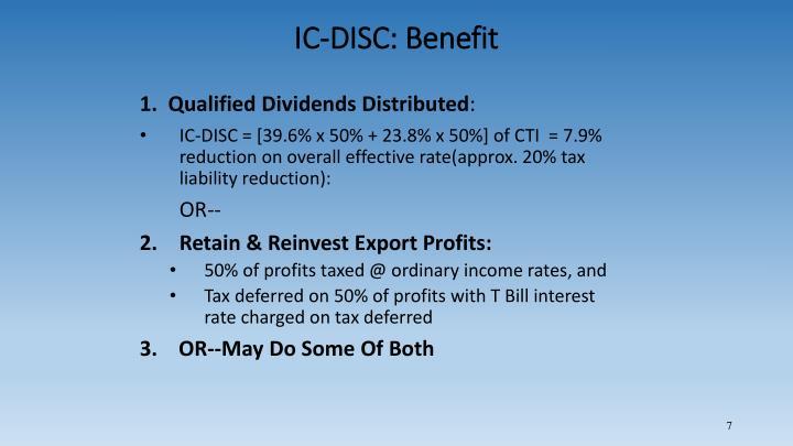 IC-DISC: Benefit