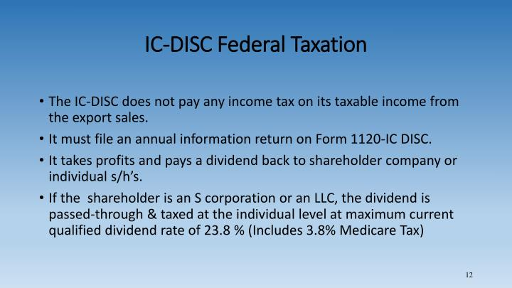 IC-DISC Federal Taxation