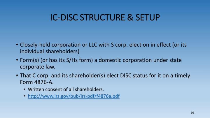 IC-DISC STRUCTURE & SETUP