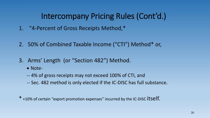 Intercompany Pricing Rules (Cont'd.)