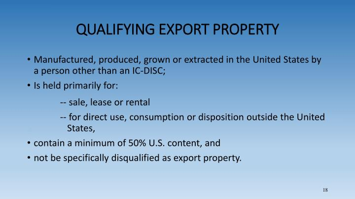 QUALIFYING EXPORT PROPERTY
