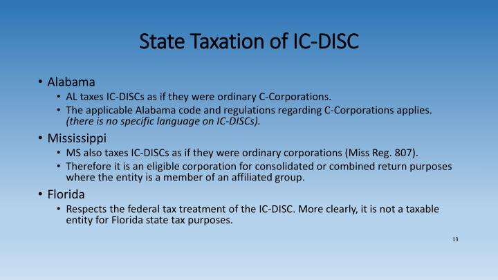 State Taxation of IC-DISC