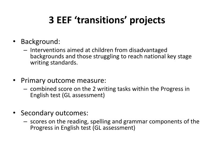 3 EEF 'transitions' projects