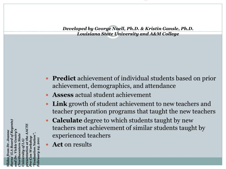 Effectiveness of Growth in Student Learning