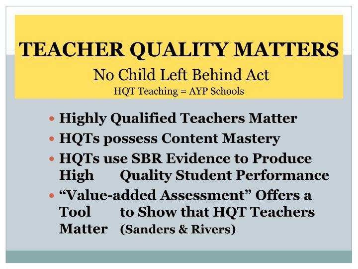 TEACHER QUALITY MATTERS