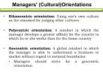 managers cultural orientations