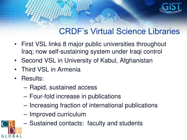 CRDF's Virtual Science Libraries
