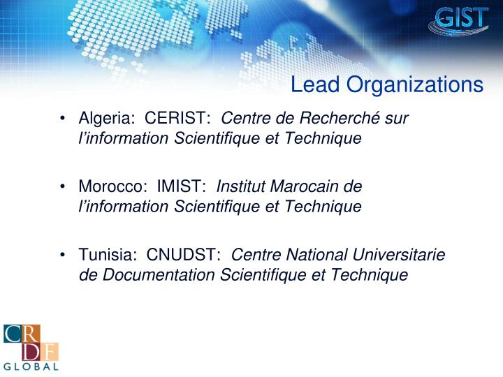 Lead Organizations