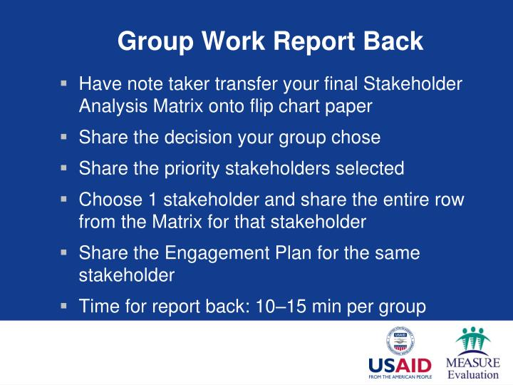 Group Work Report Back