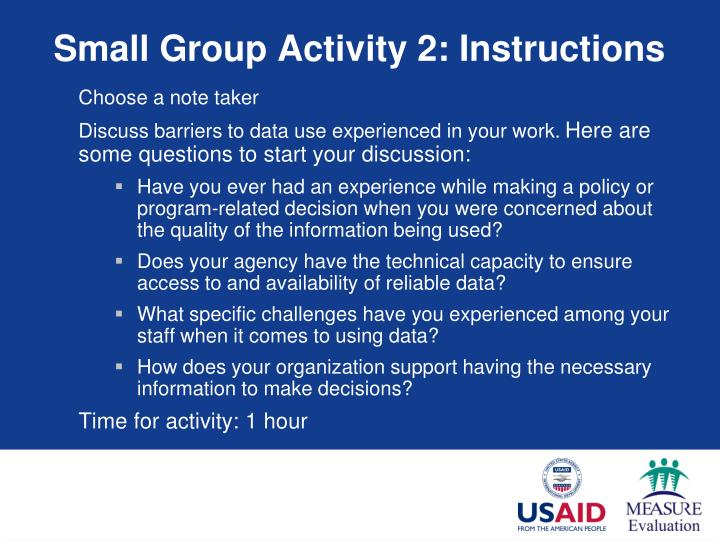 Small Group Activity 2: Instructions