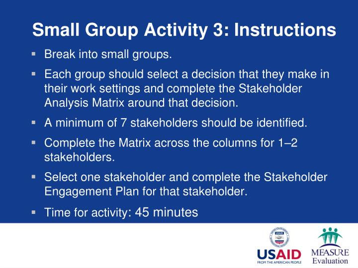 Small Group Activity 3: Instructions