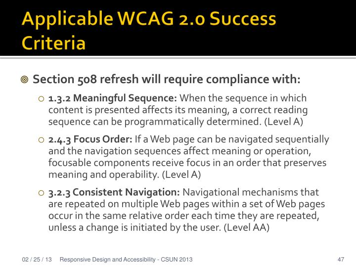 Applicable WCAG 2.0 Success Criteria