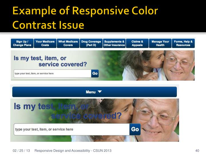 Example of Responsive Color Contrast Issue