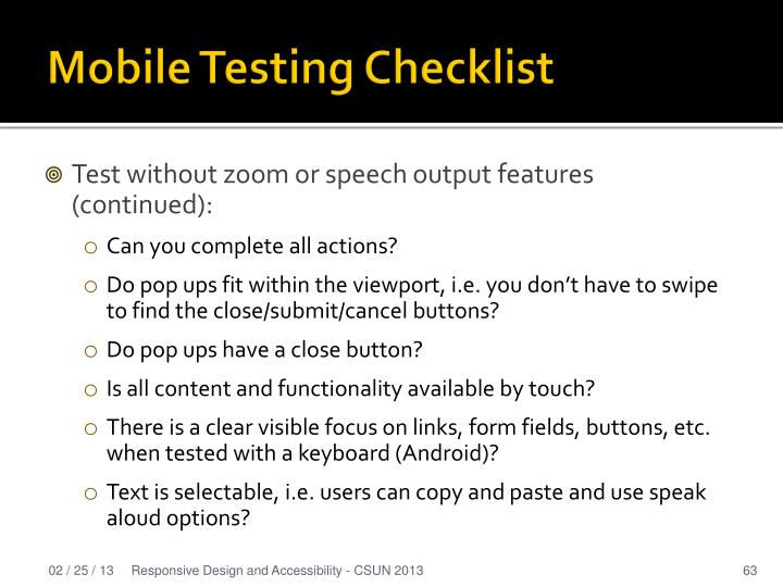 Mobile Testing Checklist