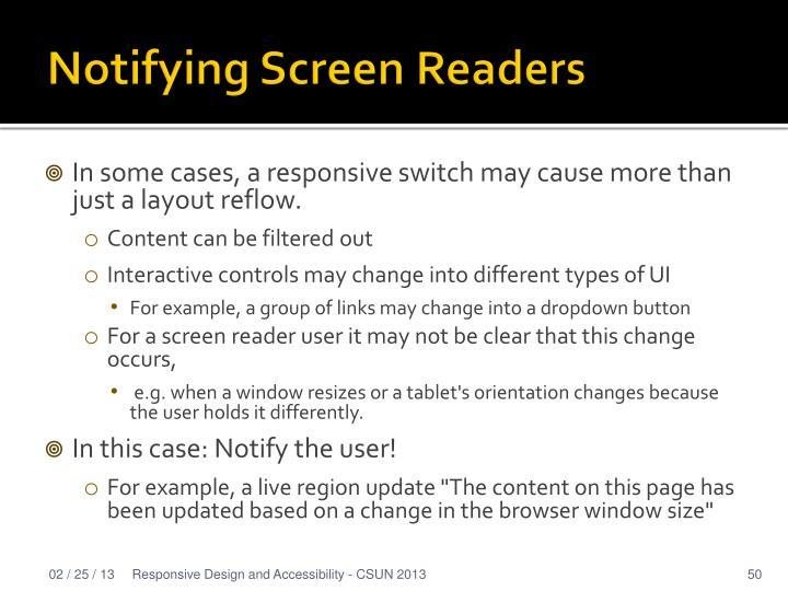 Notifying Screen Readers