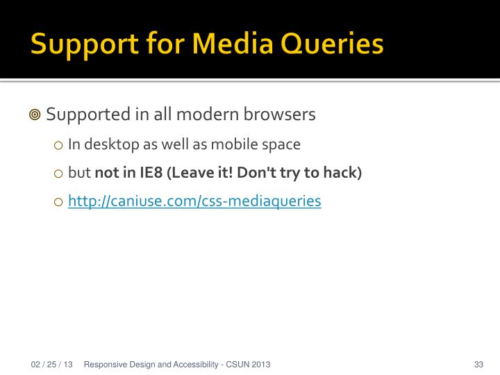 Support for Media Queries