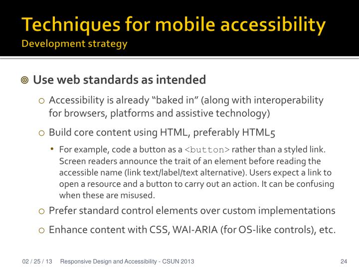 Techniques for mobile accessibility