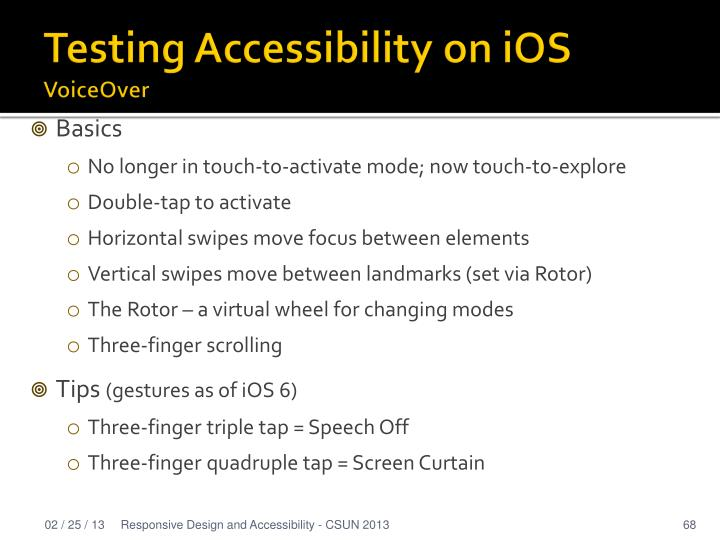Testing Accessibility on