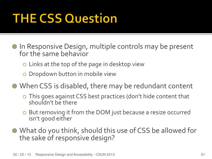 THE CSS Question