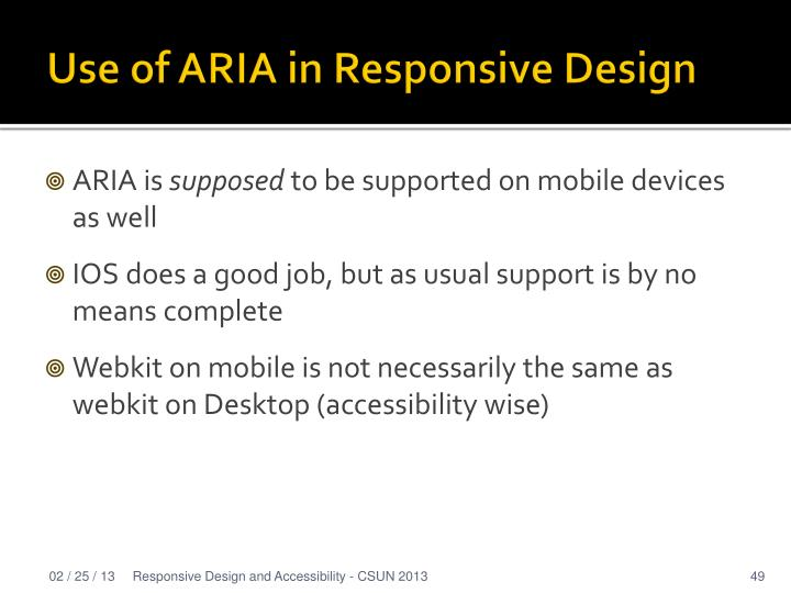 Use of ARIA in Responsive Design