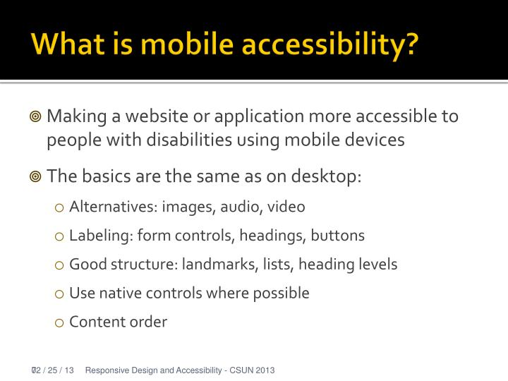 What is mobile accessibility?