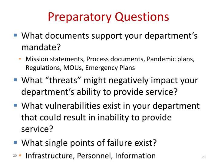 Preparatory Questions