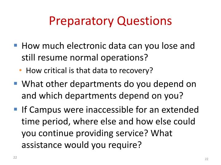 Preparatory Questions
