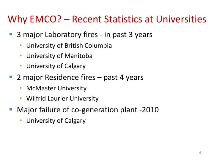 Why EMCO? – Recent Statistics at Universities