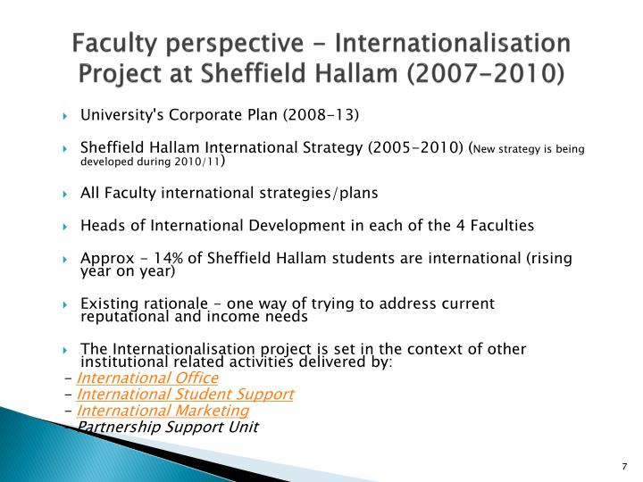 Faculty perspective - Internationalisation Project at Sheffield Hallam (2007-2010)