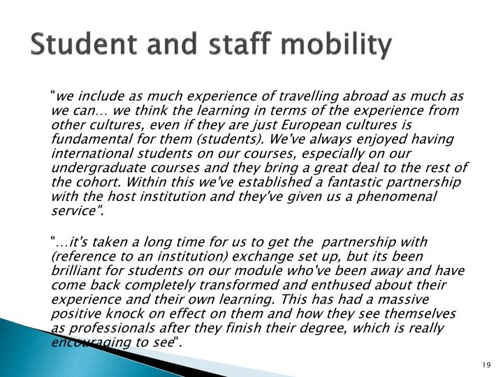 Student and staff mobility