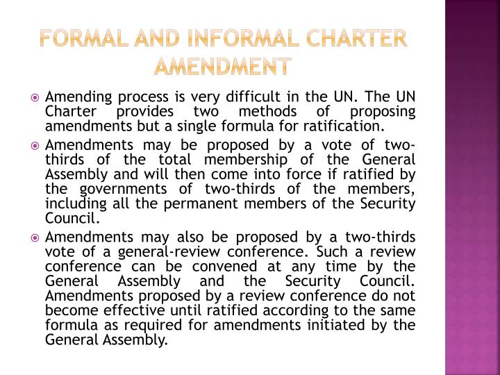 FORMAL AND INFORMAL CHARTER AMENDMENT