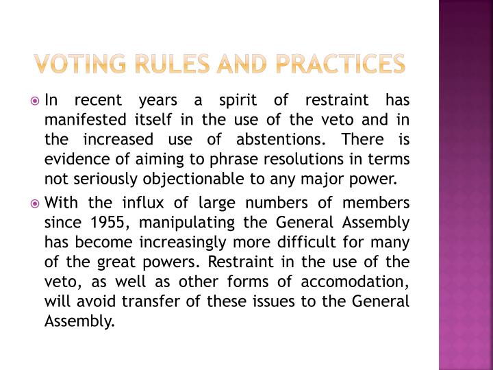 VOTING RULES AND PRACTICES