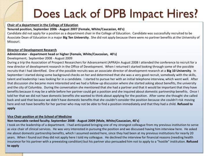 Does Lack of DPB Impact Hires?