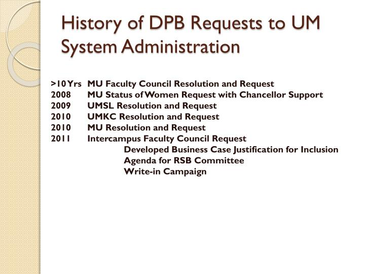 History of DPB Requests to UM System Administration