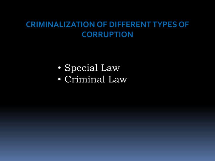 CRIMINALIZATION OF DIFFERENT TYPES OF CORRUPTION