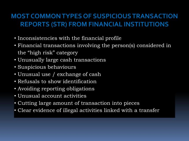 MOST COMMON TYPES OF SUSPICIOUS TRANSACTION REPORTS (STR) FROM FINANCIAL INSTITUTIONS