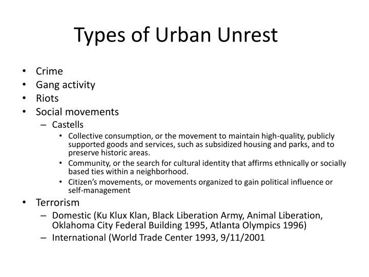 Types of Urban Unrest