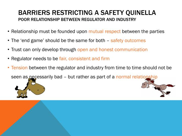 barriers restricting a safety quinella