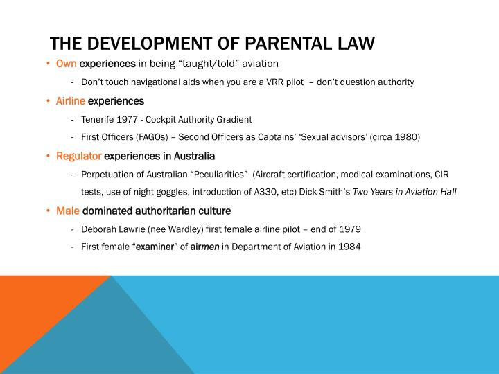 the development of parental law