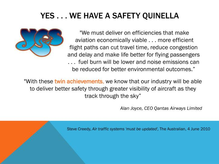 Yes . . . We have A safety quinella