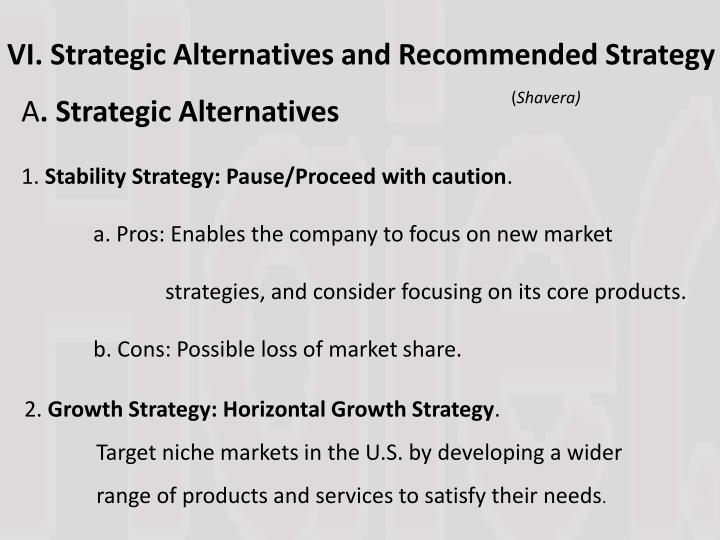 VI. Strategic Alternatives and Recommended Strategy