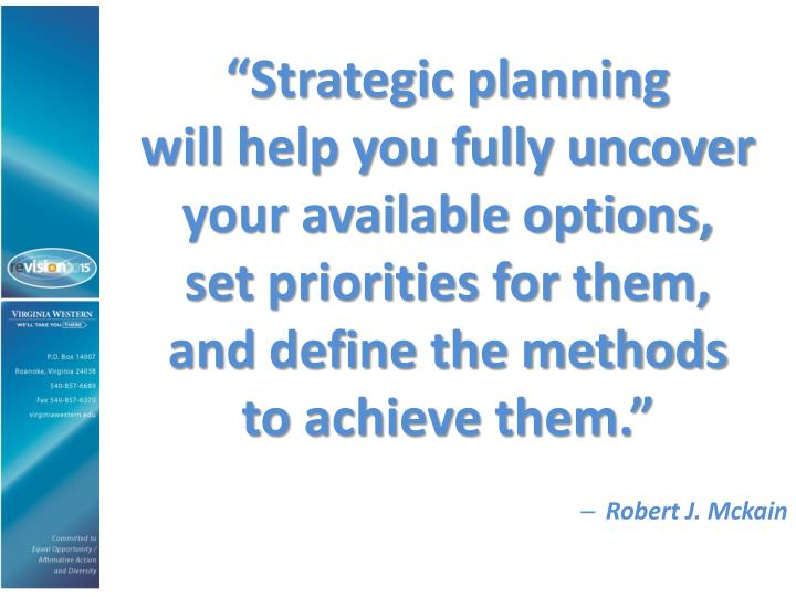 """Strategic planning"